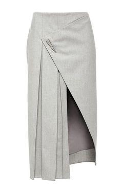 Grey Wool Pleated Midi Skirt by PRABAL GURUNG Now Available on Moda Operandi: