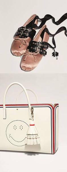 Ballerines en satin et cuir #MiuMiu, Sac en cuir et pompon en cuir #AnyaHindmarch. #leBonMarche #pe2016 #ss2016 #women #fashion