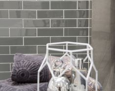 Top design tip for glass mosaics! Use white grout for added shine and glamour. The lighter colour grout also highlights the colour of the metro tiles, rather than dulling them. Glass, Tiles, Light Colors, Glass Tile, Ambient Lighting, Metro Tiles, Mosaic Glass, Colours, Grout Color