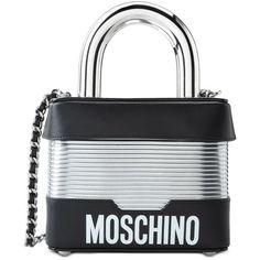Moschino Handbag ($1,350) ❤ liked on Polyvore featuring bags, handbags, black, hand bags, moschino purse, metallic purse, studded handbags and moschino handbags