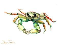 showantell:  Crab,, Original watercolor painting, 9 X 12 in, green light art sea animal art, sea world painting by ORIGINALONLY (28.00 USD) http://ift.tt/1llXISG