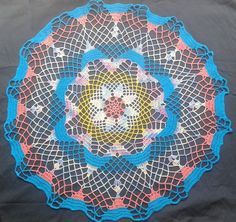 Crochet Doily Table Decor in Turquoise, Yellow, Pink - Table cover - Housewarming gift - Heirloom Wedding gift - Home decor - Gift for her by ElenisCrochet on Etsy