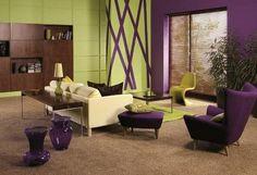 как комбинировать зеленый и фиолетовый в интерьере