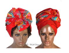 African Head Wraps, Red reversible -HT208 | Tess World Designs | African Clothing Materials