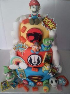 Comic Book Double Sided Wedding Cake - Cake by EmzCakes