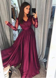 Buy discount Chic Satin Chiffon V-neck Neckline Long Sleeves A-line Prom Dress With Beaded Lace Appliques at Dressilyme.com