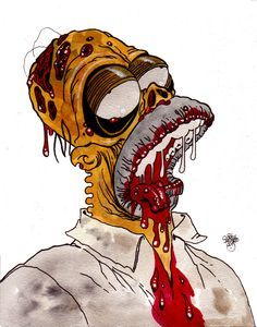 More Undead Art on Zombie Daily folks! Now, ALL NEW Zombie Art is going to be posted on my Patreon Page! Pinups, Heads of the Living Dead, ALL Zombie Art Disney Horror, Horror Cartoon, Zombie Cartoon, Zombie Disney, Cartoon Pics, Cartoon Art, Homer Simpson, Simpson Art, Sick Drawings
