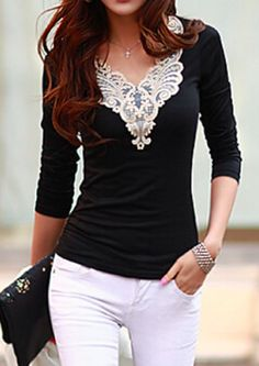 lace work v-neck top