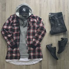 Urban Wear For Men Posts urban fashion streetwear flannels. Dope Outfits, Casual Outfits, Men Casual, Black Outfits, Woman Outfits, Summer Outfits, Mode Man, Mode Costume, Mens Clothing Styles