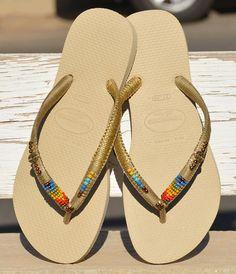 Flip Flops sandalias con cuentas oro rosa Havaianas
