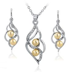 Crystal Jewelry Sets Imitation Pearl Earrings Necklaces