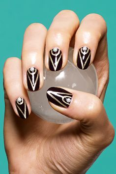 Black Gold Nails creates twelve original nail art designs in partnership with Susan Miller and Deborah Lippmann. - creates twelve original nail art designs in partnership with Susan Miller and Deborah Lippmann. Black Gold Nails, White Nails, Purple Gold, White Gold, Black Silver, How To Do Nails, Fun Nails, Art Deco Nails, Nail Art 2014