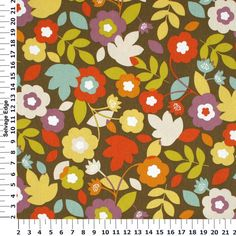 for the reading couch-Hancock Essentials Duck Collection - Multicolored Flowers on Brown Cotton Fabric