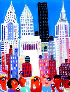 I Love NYC Art Print by Christopher Corr at King & McGaw -nice inspiration for architecture layering. Childlike in its playfulness.
