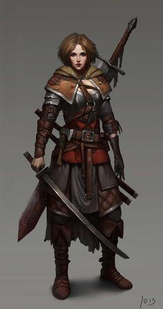 f Ranger Med Armor Sword Greatsword undercity ArtStation Knight by Xinqiao Xu lg Fantasy Female Warrior, Fantasy Armor, Fantasy Women, Medieval Fantasy, Fantasy Girl, Woman Warrior, Dungeons And Dragons Characters, Dnd Characters, Fantasy Characters