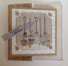 The Potting Shed collection, card named by Julie Hickey. Gorgeous Autumnal feel to collection featuring gardening tools, sheds, hedgehogs, flower pots, Wellington boots and all things to do with gardening. Perfect for both male and female cards.