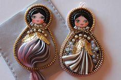 Matrioshka, art doll, Shibori silk, cristals and zipper. OOAK. Totally handmade. Work in progress and more..