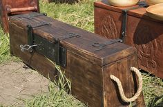 Viking Sea Chest... The oarsmen sat on their personal chests, rather than on benches. That way the deck planks, under which the trade goods were stored, could easier be removed. https://alehorn.com                                                                                                                                                     More