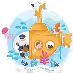 #yellowsubmarine #beatles #illustration #illustrationkids #childrenillustration #digitalart #sea Beatles Songs, Yellow Submarine, Under The Sea, Pikachu, My Arts, Family Guy, Christmas Ornaments, Holiday Decor, Exploring