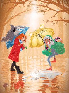#children #rain #winter #orange #forest #hedgehog #squirrel #shark #umbrella #illustration #picture #draw #lupe #blog #lupegranite