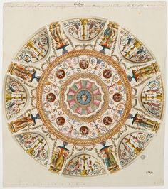 Design for a circular ceiling at Harewood House, from the Soane's collection (Adam/11/148)