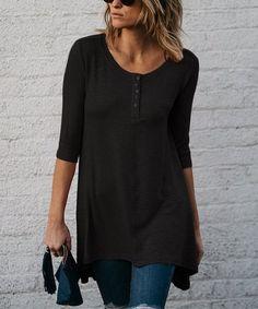 11d7d4cb7d8 Amaryllis Black Play It Loose Button-Front Tunic - Women   Plus