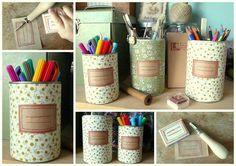 Pots à crayon / tissus