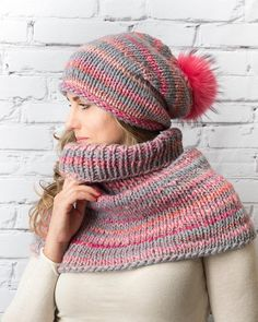 6c6baac6d0a Wool handmade hat and scarf Chunky knit winter set of Wool Scarf