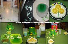 St. Patricks Day Tradition: Leprechaun visit: footprints, tricks, pranks, mischief, green milk, green toilet water, green lunch, shamrock breakfast