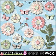 Digital Scrapbooking  Whispers of Spring Flower Pack