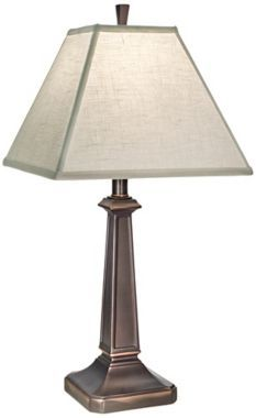 Fischler Oxidized Bronze 25-Inch-H Table Lamp Oxidized bronze finish. Cream Aberdeen hardback tapered square shade. 25-inches high. Base is 6-inches square. Shade is 5-inches square on top, 12-inches square on the bottom, 9 1/2-inches high. Maximum 150W or equivalent 3-way bulb (not included).  $218