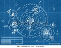 blueprint of space mechanic - with planets, stars, gearwheels by BiterBig, via ShutterStock