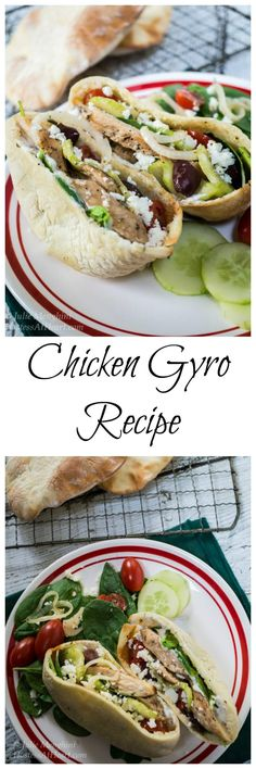 A quick and easy delicious Chicken Gyro recipe. You can either stuff the ingredients into a pita or make a healthy Greek salad. Gyros make a great lunch or dinner! Chicken Gyro Recipe, Chicken Gyros, Best Chicken Recipes, Healthy Chicken, Turkey Recipes, Lunch Recipes, Healthy Recipes, Delicious Recipes, Healthy Meals