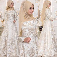 Hijab Gown, Hijab Dress Party, Hijab Style Dress, Muslim Wedding Dresses, Bridal Dresses, Hijab Outfit, Wedding Gowns, Modern Hijab Fashion, Muslim Fashion