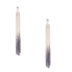 Add some sassy edgy dangle to style with this pair of clip on drop earrings. Silver chains are dipped in black and hang from a small silver disc.