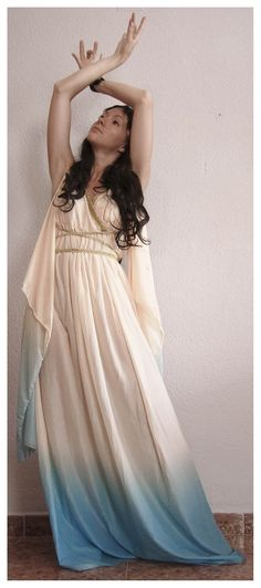 Greek goddess, I like the idea of how the fabric flows from her sleeves...I just may do that with the black chiffon fabric for a more dramatic effect!