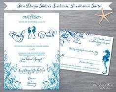 Beach Wedding Invitation Suite - San Diego Shores Seahorse - Customizable, Original Nautical Designs on Etsy, $3.25