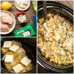 Slow Cooker Pesto Mozzarella Chicken Pasta - The Magical Slow Cooker Slow Cooked Chicken, Slow Cooked Meals, Crock Pot Cooking, Slow Cooker Recipes, Cooking Recipes, Crockpot Meals, Thai Cooking, Crockpot Dishes, Parmesan