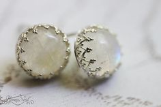 Sterling silver stud earrings with moonstone White by nonnasoul, $54.00