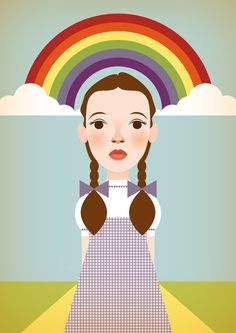 Somewhere Over The Rainbow, illustration of Dorothy from Wizard of Oz and lovely rainbow behind her head, on yellow-brick road. By Stanley Chow, London. (in 2012)