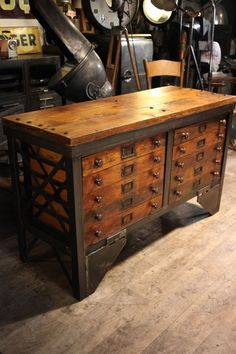 Industrial table with drawers