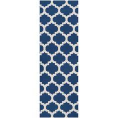 """Chatham   Blue & White   Wool  2'6""""x8'  www.Colonyrug.com"""