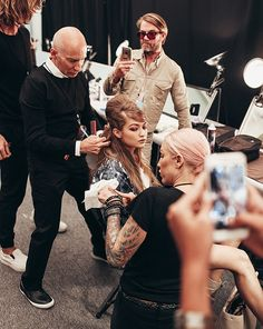 Gigi Hadid at New York Fashion Week backstage Anna Sui for R+Co