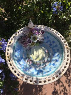 MOSAIC Bird Bath Cast Iron Birdbath Vintage China by thooker