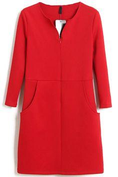 Red V Neck Long Sleeve Split Bodycon Dress - Sheinside.com
