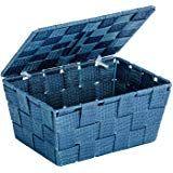 Wenko 22200100 Aufbewahrungskorb mit Deckel Adria Petrol - Badkorb, Polypropylen, 19 x 10 x 14 cm Cube, Mini, Bathroom Baskets
