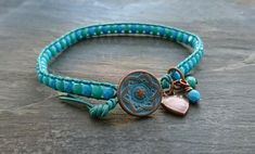 Jade green, teal and turquoise leather bead bracelet, copper heart charm £10.00