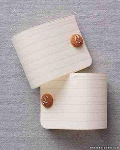 For a letter-perfect token of appreciation, embroider initials on linen and attach to buttons.