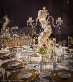 candelabra wedding centerpiece with flowers - Google Search