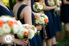 Navy Blue Bridesmaids Dresses - Farm Wedding - Coral - Peach - Orange - Rustic Farm - Outdoor Wedding - Bridal Bouquet - Bride - Knoxville TN Florist - Cowboy Boots - Wedding Flowers - Bouquets  www.lisafosterdesign.com